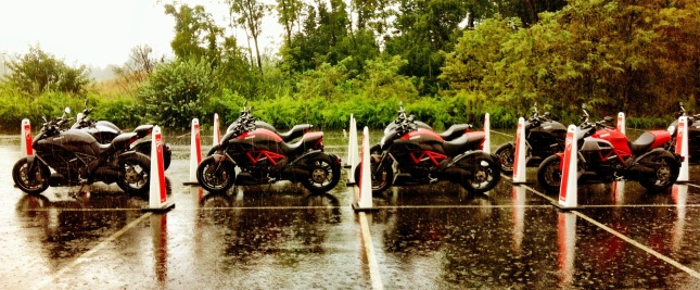 Ducati Diavels lined up for test ride