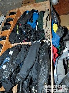 motorcycle gear closet